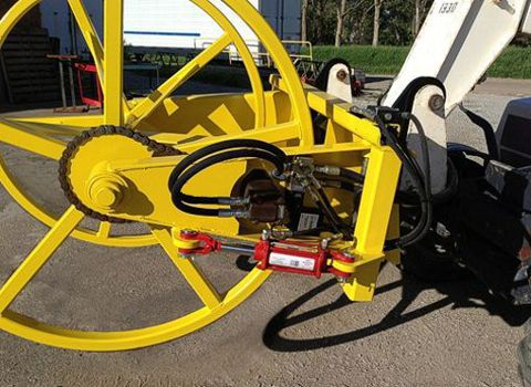 Hydraulic cable spooler for wire, hose,                           plastic and more